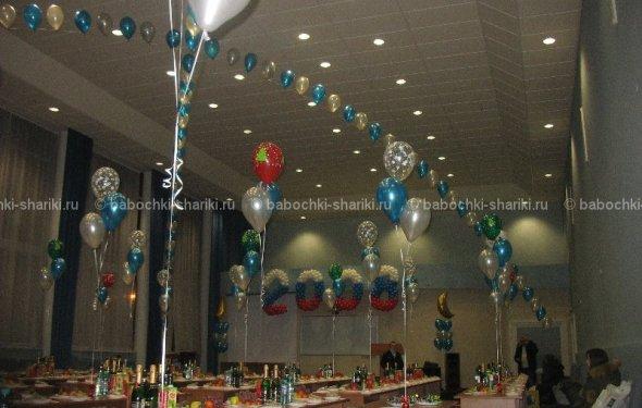 Украшение зала шариками к